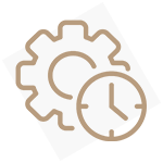 Icon of a gear with a clock